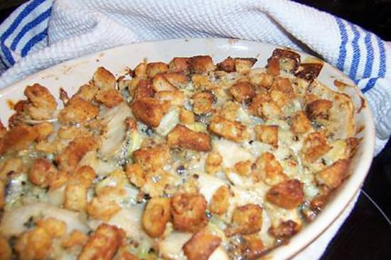 recette Crumble pommes de terre, poire et roquefort