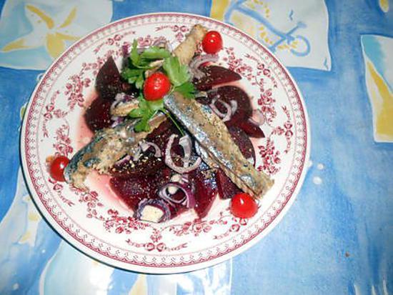 Recette de salade de betterave au filets de maquereau - Cuisiner filet de maquereau ...