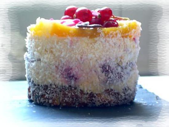 recette Entremet noix de coco, framboise et fruits exotique