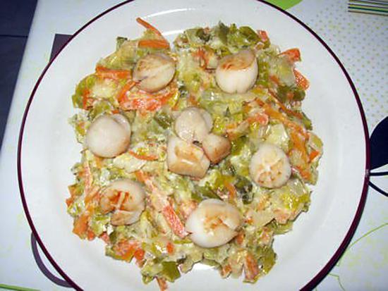 recette Saint-Jacques flambées sur lit de légumes
