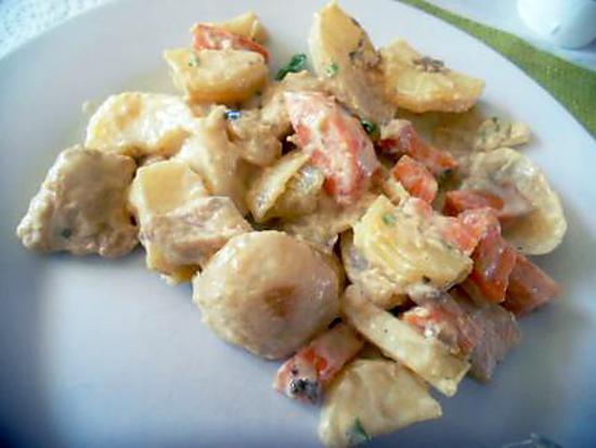 recette Ragoût de dinde à la crème et ses petits légumes !