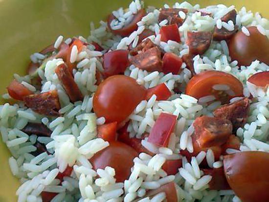 recette de salade de riz au chorizo. Black Bedroom Furniture Sets. Home Design Ideas