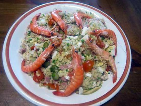 recette Boulgour en salade au  crevettes et ciboulette.