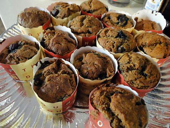 recette Muffins aux bananes et myrtilles