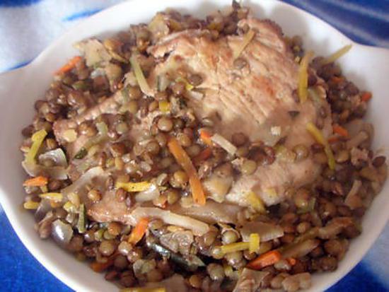 recette Filet de porc aux lentilles & légumes