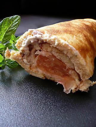 recette Roulé de saumon fumé, pamplemousse et petits suisse à la menthe