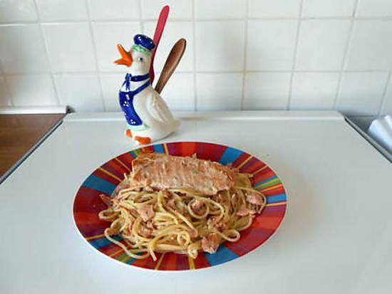 recette Pâtes crémeuses aux deux saumons.