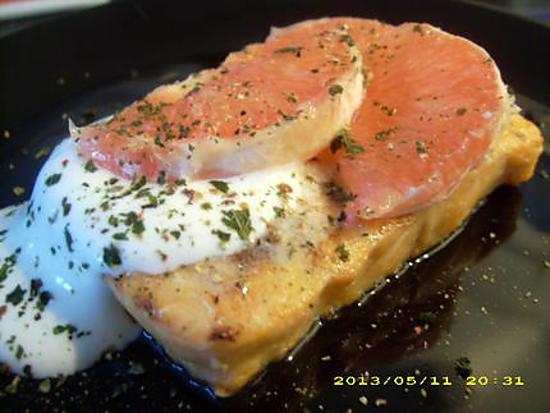 recette pavé de saumon grillé, chantilly de fromage blanc aux agrumes (diététique)