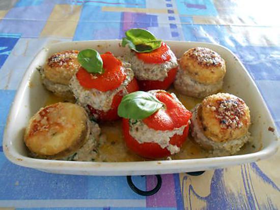 Champignons et tomates farcies 430