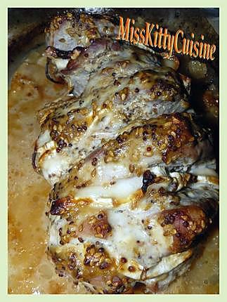 recette Rôti de longe de porc au miel/sésame/moutarde et chèvre