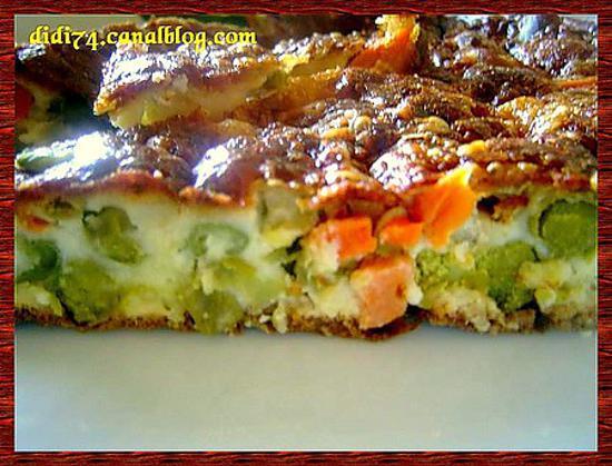 recette Clafoutis à la macedoine de légumes et au roquefort.