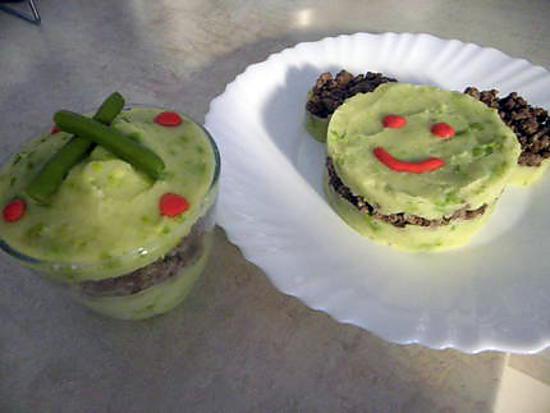 recette purée ptits pois frais,viande hachée-gruyere......rapide et simple mais....les enfants ont tout mangé