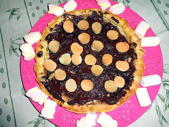 recette PIZZA CREME DE MARRON BANANE CHOCOLAT CHAMALLOW DE NICOLASE