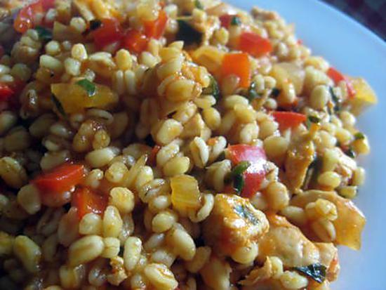 recette Blé Ebly au poulet et poivron rouge