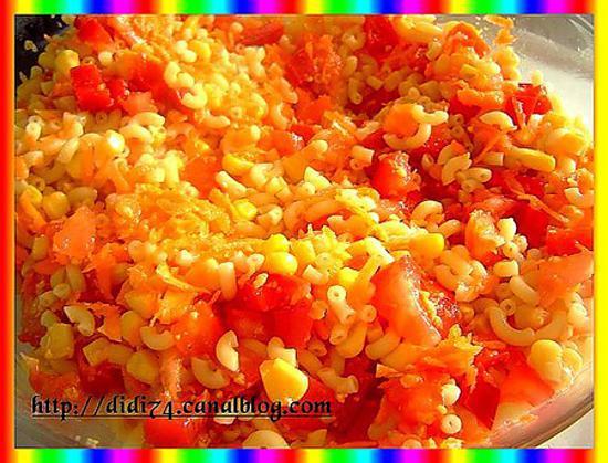 recette de salade de p 226 tes carottes poivron tomates cacahu 232 tes ma 239 s