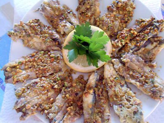 Anchois frais panés aux pistaches 430