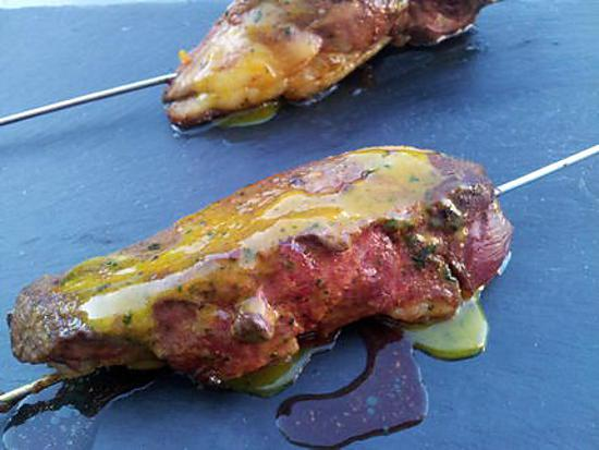 recette Grillades de magret de canard en brochettes
