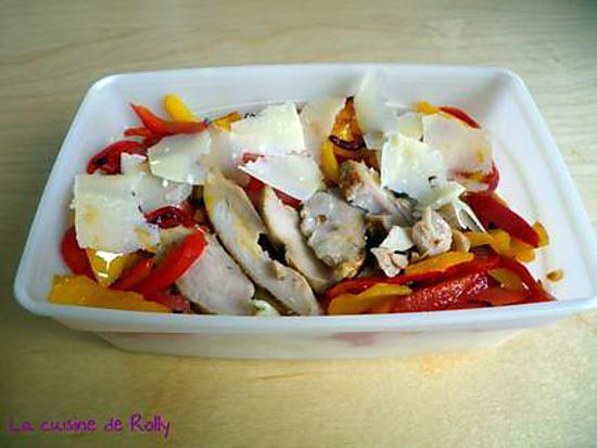 recette Salade de pâtes, poulet grillé, parmesan et poivrons