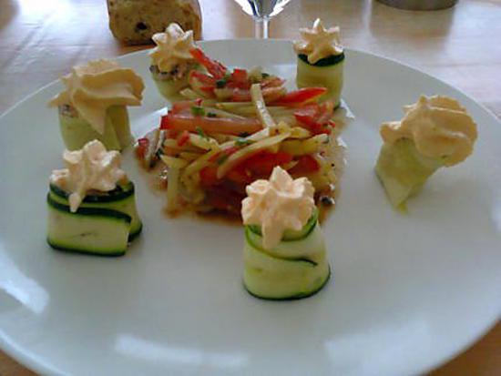 recette salade de légumes et sa mousse de chorizo