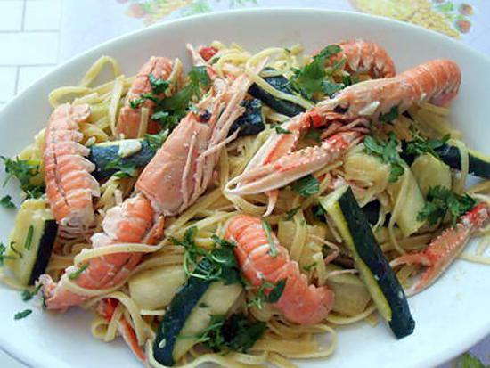 Langoustines et courgettes (tagliolini con scampi et zucchine) 430