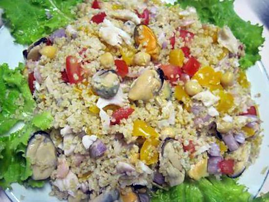 recette Boulgour aux légumes et crustacés.