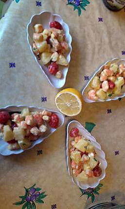 recette ananas crevette tomate cerise et mayonnaise au curry