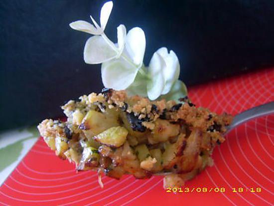 recette courgettes poelées au crumble d'olives noires
