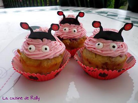 recette Cupcakes coccinelle framboise et chocolat blanc