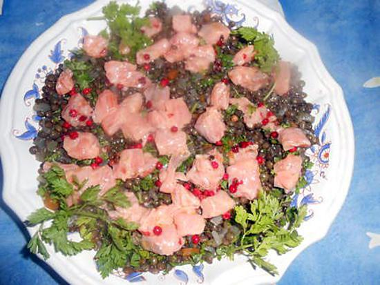 recette Des de saumon marinés aux lentilles
