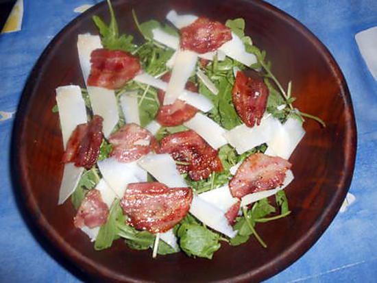 recette Salade de roquette pancetta,parmesan