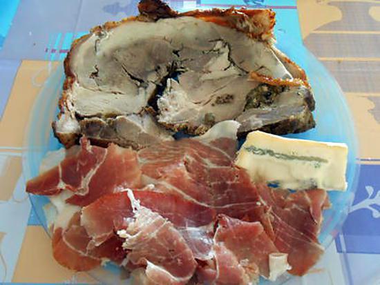 Assiette froide porchetta e prosciutto crudo (jambon cru) 430