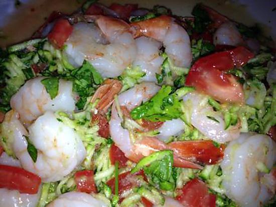 recette Salade crevette et courgettes