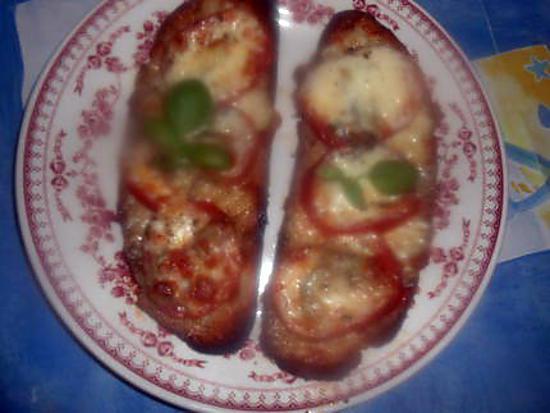 recette Tartine,anchois,tomate,mozarella