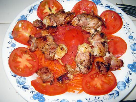 recette Crevettes aux lards fumés sur nid de crudités