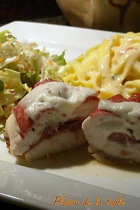 recette Saltimbocca de poulet, fettuccini sauce moutardée aux tomates séchées et au piment d'espelette