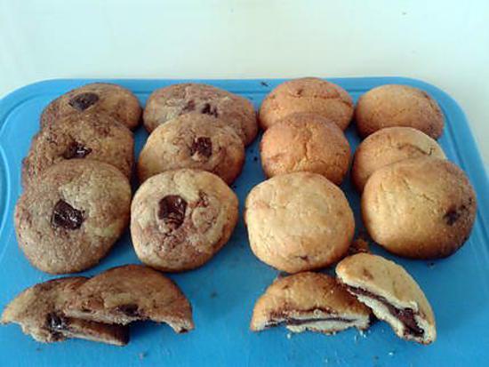 recette cookie au coeur chocolaté et cookie a la pâte a tartiner et pépite au chocolat