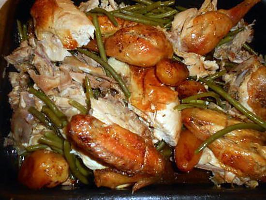 recette Poulet roti haricots vert et pommes de terre