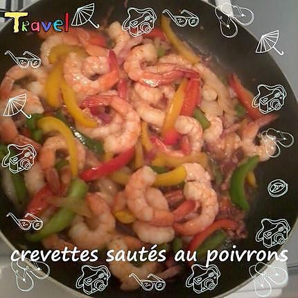 recette crevettes sautées aux poivrons