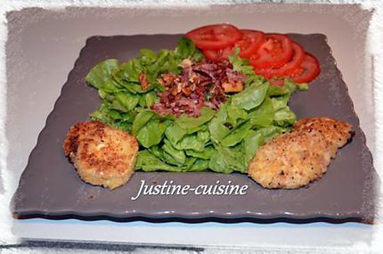 recette Salade de lardons fumés aux fromages panés