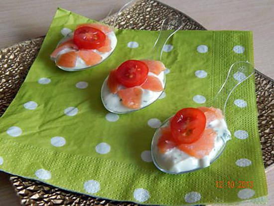 recette cuillères apéritive tzatziki, saumon et tomate cerise