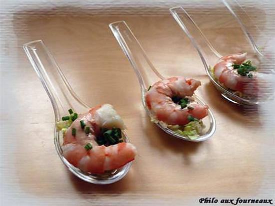 Recette de cuill re ap ritive la crevette sa sauce cocktail - Petites cuilleres aperitives pour apero sympa ...