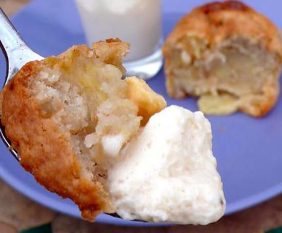 recette Muffins nougat, pomme, chocolat blanc, coco, avec leur mousse de nougat
