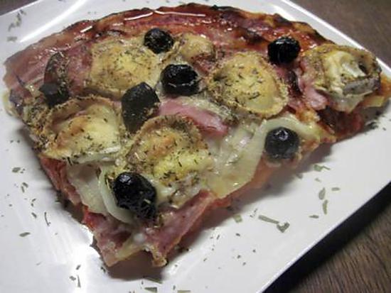 recette pizza au bacon. bûche de chèvre.