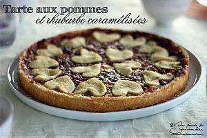 recette Tarte aux pommes et rhubarbe caramélisées