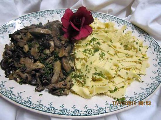 recette Farandelles de Savoie aux pleurotes.