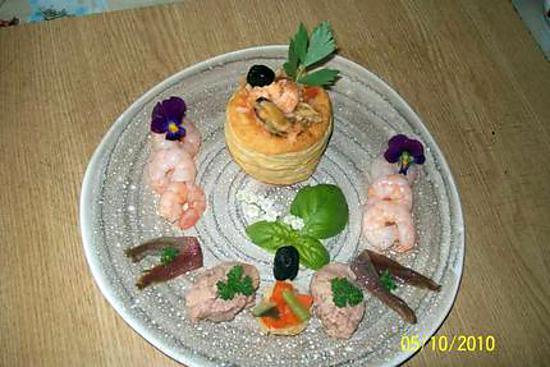 recette Bouchées de fruits de mers aux quenelles de foie morue.