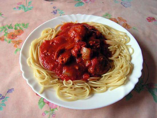 recette Spaghettis aux boulettes à la tomate