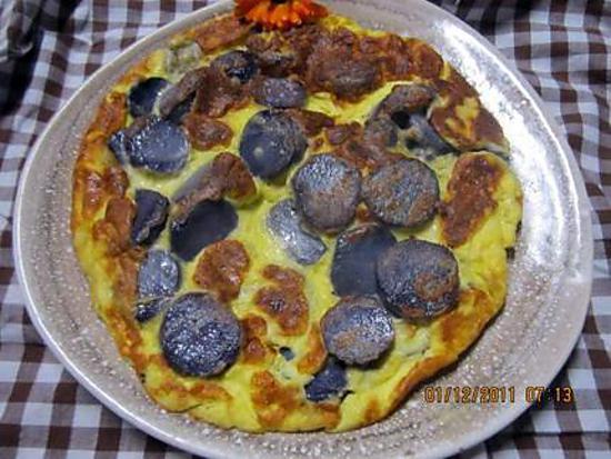 recette Omelette aux pommes de terre vitelottes.