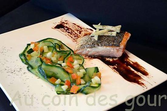 recette Pavé de saumon-tagliatelles de concombre/poivron/pomme granny