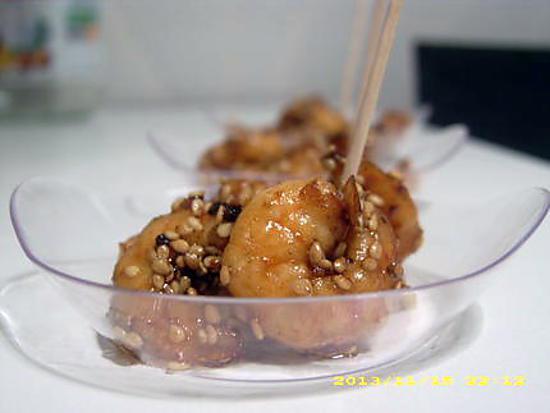 recette petites crevettes au miel en habit de sésames (apéro en famille)